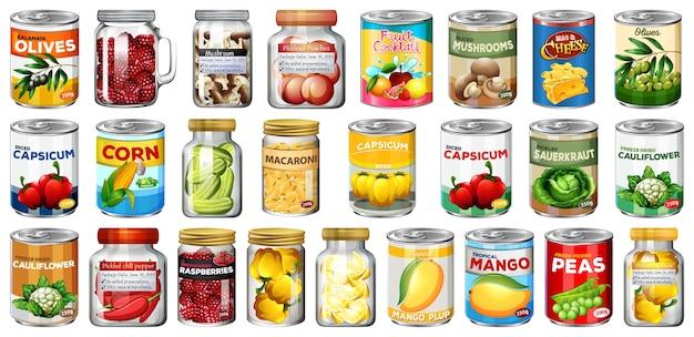 Conjunto de diferentes alimentos enlatados y alimentos en frascos aislados vector gratuito