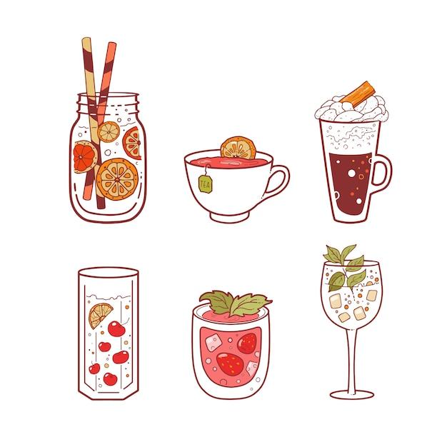Conjunto de diferentes bebidas. Vector Premium