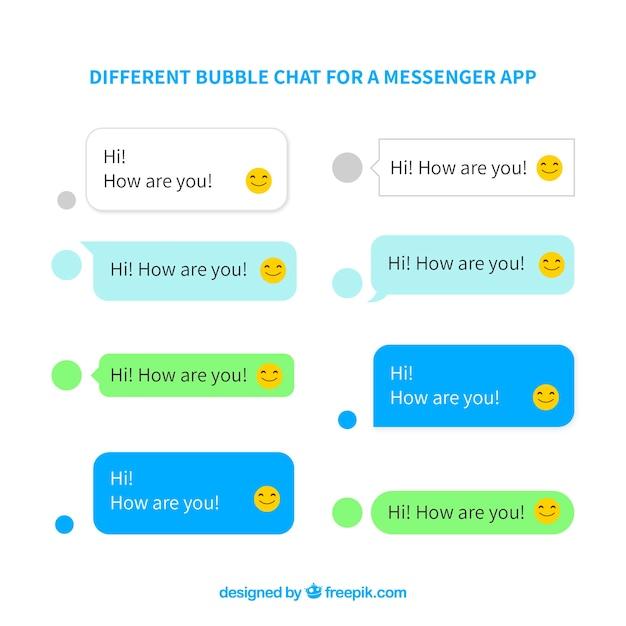 Conjunto de diferentes burbujas de chat para aplicación de mensajería Vector Premium