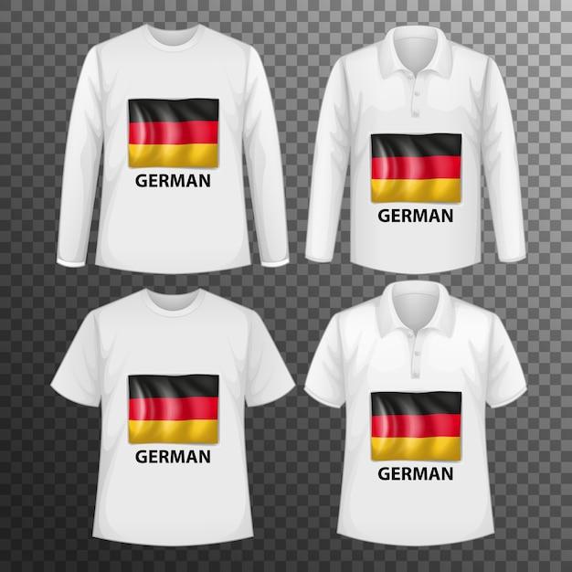 Conjunto de diferentes camisetas masculinas con pantalla de bandera alemana en camisetas aisladas vector gratuito