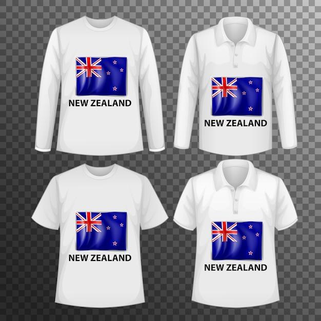 Conjunto de diferentes camisetas masculinas con pantalla de bandera de nueva zelanda en camisetas aisladas vector gratuito
