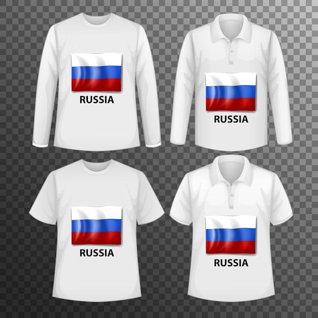 Conjunto de diferentes camisetas masculinas con pantalla de bandera de rusia en camisetas aisladas vector gratuito