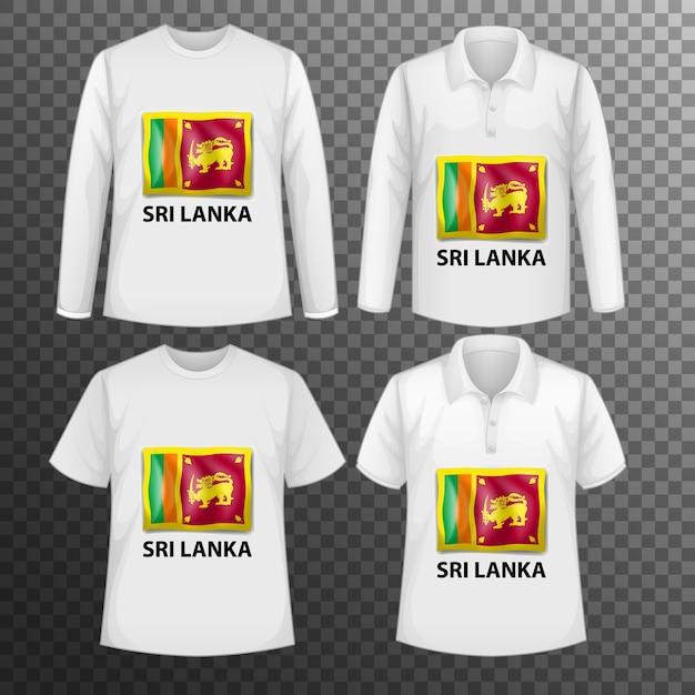 Conjunto de diferentes camisetas masculinas con pantalla de bandera de sri lanka en camisetas aisladas vector gratuito