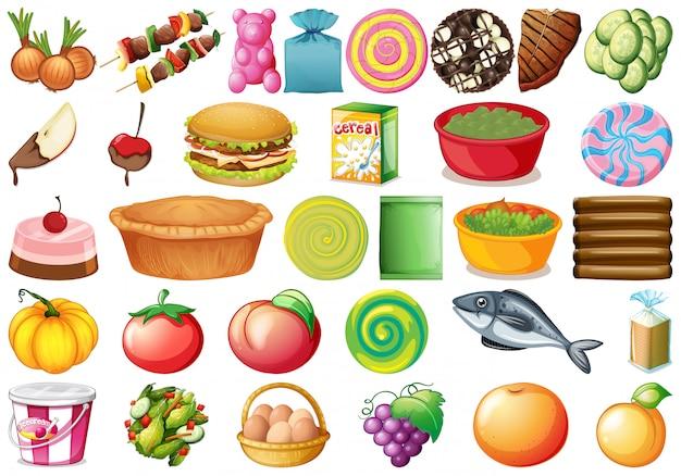 Conjunto de diferentes comidas. vector gratuito