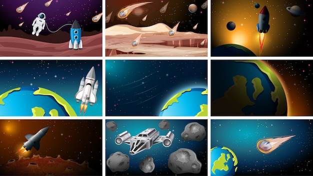 Conjunto de diferentes escenas espaciales. vector gratuito