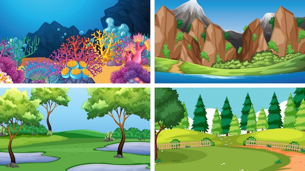 Conjunto de diferentes escenas o fondo vector gratuito
