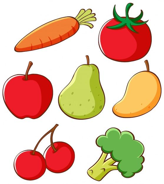Conjunto de diferentes frutas y verduras. vector gratuito