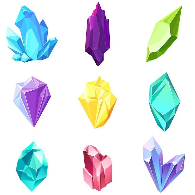 Conjunto de diferentes gemas. hermosos cristales de la naturaleza. Vector Premium
