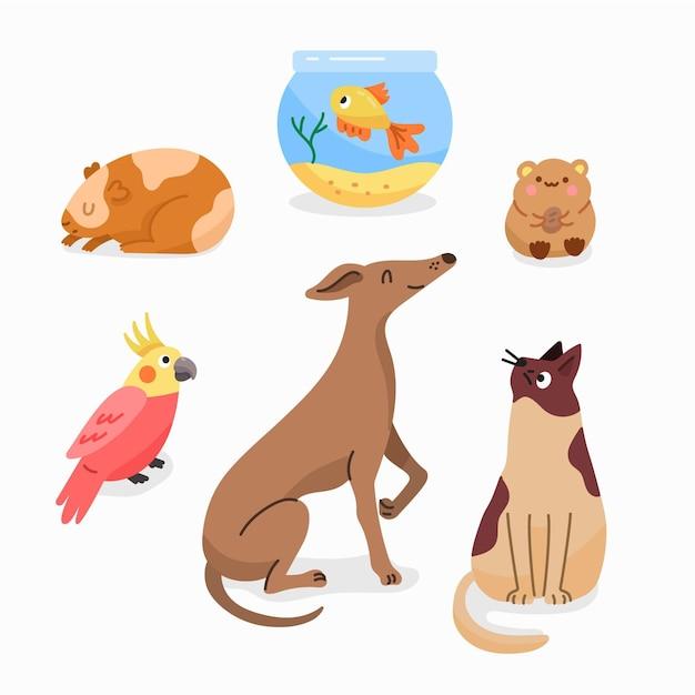 Conjunto de diferentes mascotas de ilustración de diseño plano vector gratuito