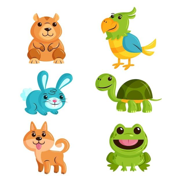 Conjunto de diferentes mascotas Vector Premium