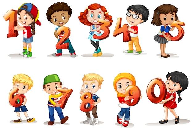 Conjunto de diferentes niños con número de matemáticas. vector gratuito