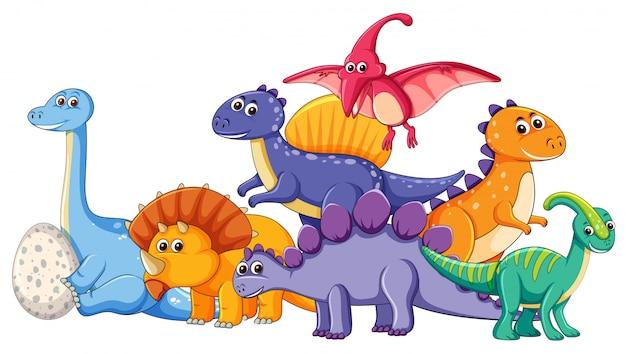 Conjunto de diferentes personajes de dinosaurios. vector gratuito