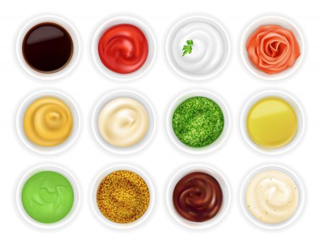 Conjunto de diferentes salsas en tazones. Vector Premium