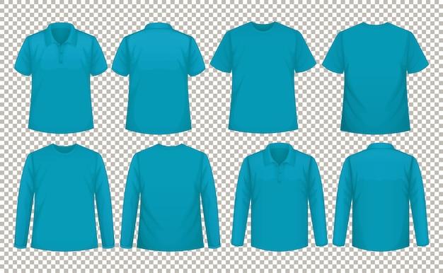 Conjunto de diferentes tipos de camiseta del mismo color. vector gratuito