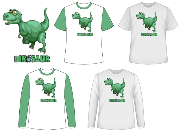 Conjunto de diferentes tipos de camiseta en tema dinosaurio con logo de dinosaurio vector gratuito