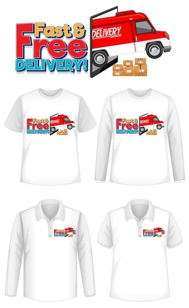 Conjunto de diferentes tipos de camisetas con pantalla de logotipo de entrega rápida y gratuita en camisetas vector gratuito