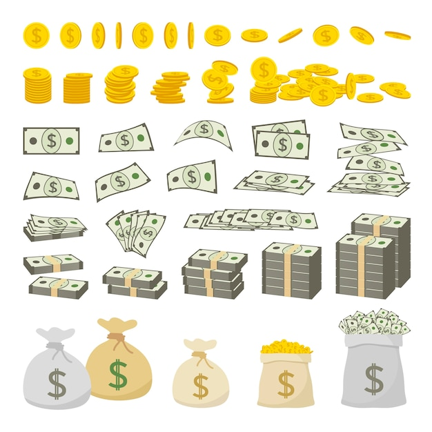 Conjunto de dinero de signo de dólar y monedas de oro aisladas sobre fondo blanco Vector Premium