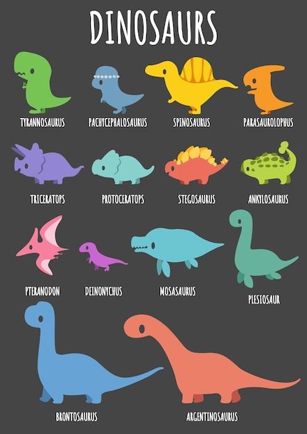 Conjunto De Dinosaurios Lindos Con Sus Nombres Vector Premium Cuando se habla de nombres de dinosaurios marinos, todos pensamos en esta especie de reptil. https www freepik es profile preagreement getstarted 2525015