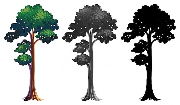 Conjunto de diseño de árbol diferente vector gratuito