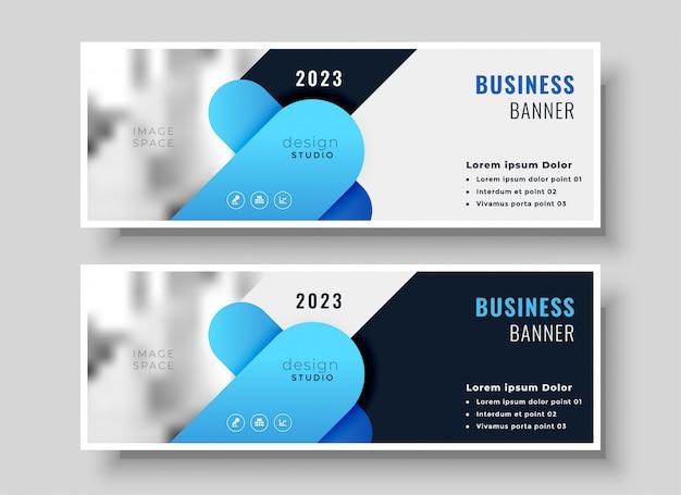 Conjunto de diseño de banner de negocio abstracto vector gratuito
