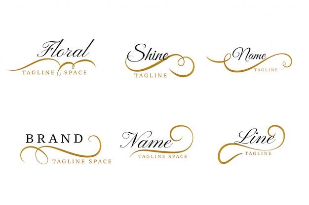 Conjunto de diseño de colección de logotipos ornamentales florales preciosos vector gratuito
