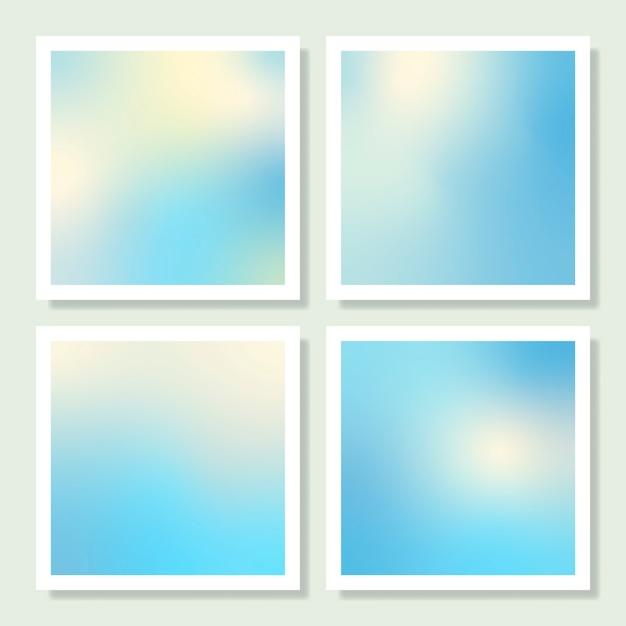 Conjunto de diseño de fondo degradado holográfico azul vector gratuito