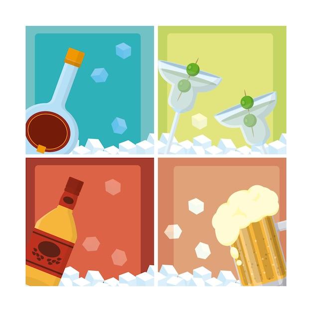 Conjunto de diseño gráfico del ejemplo del vector de la colección de las bebidas Vector Premium