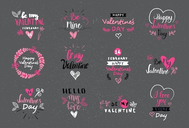 Conjunto de diseño de letras del día de san valentín colección de logotipos, etiquetas y pegatinas dibujados a mano Vector Premium