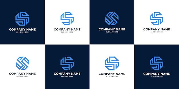 Conjunto de diseño de logotipo abstracto creativo letra s. concepto de círculo Vector Premium