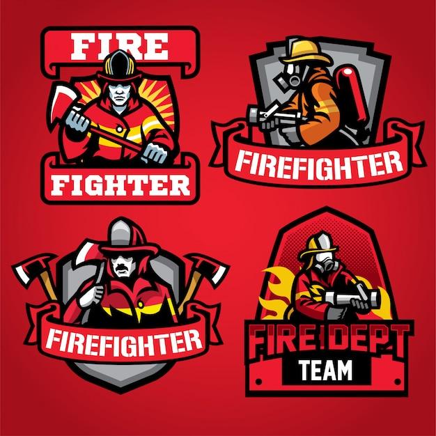 Conjunto de diseño de logotipo del departamento de bomberos Vector Premium