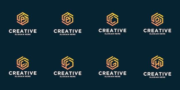 Conjunto de diseño de logotipo de inspiración de letra hexagonal creativa Vector Premium