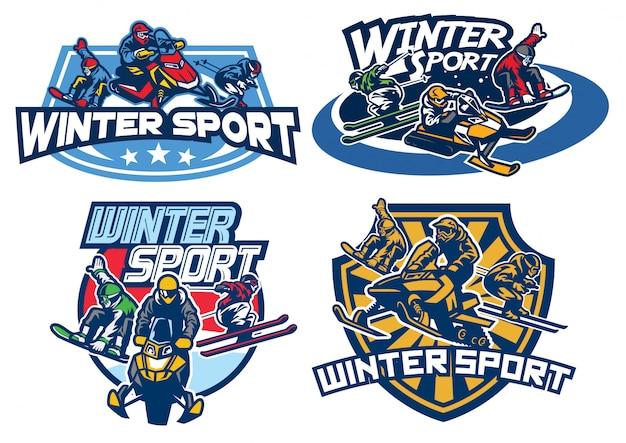 Conjunto de diseño de logotipo de juegos de invierno Vector Premium