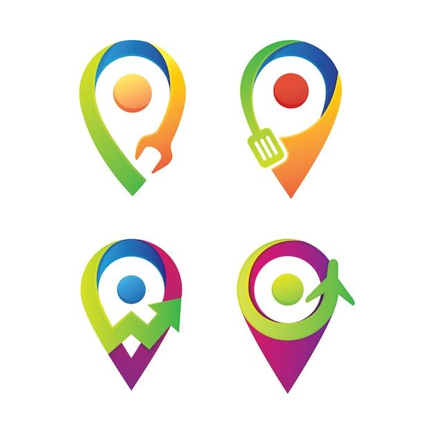 Conjunto de diseño de logotipo de pin Vector Premium