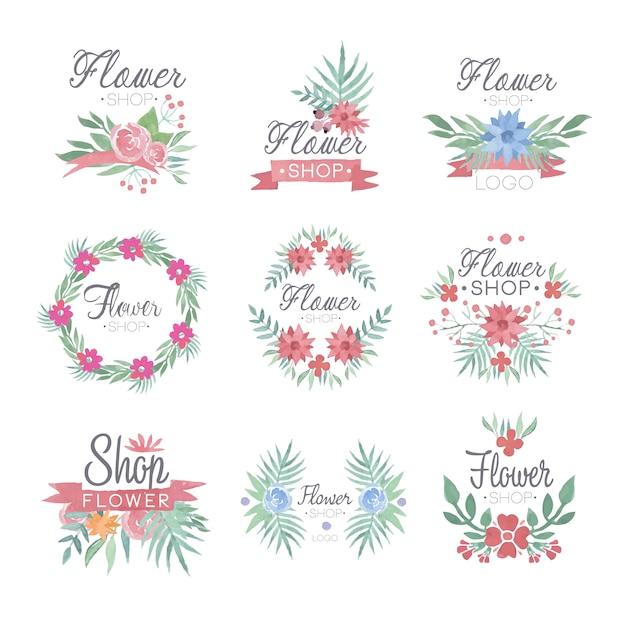 Conjunto de diseño de logotipo de tienda de flores de coloridas ilustraciones en acuarela Vector Premium