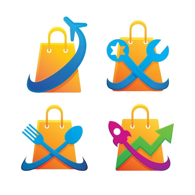 Conjunto de diseño de logotipo de tienda Vector Premium