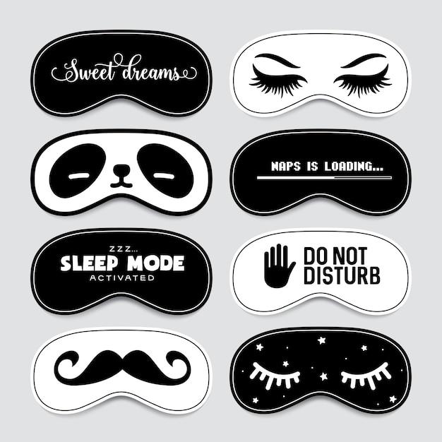 Conjunto de diseño de máscara para dormir. Vector Premium