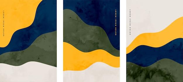 Conjunto de diseño ondulado abstracto pintado a mano minimalista vector gratuito