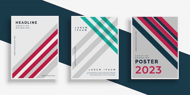 Conjunto de diseño de página de portada de rayas abstractas vector gratuito