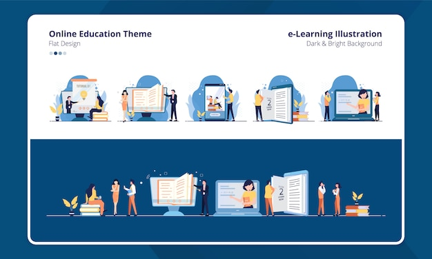 Conjunto de diseño plano de colección con e-learning o tema de educación en línea Vector Premium