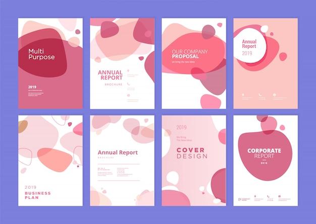 Conjunto de diseño de plantilla de cubierta de informe anual de belleza Vector Premium