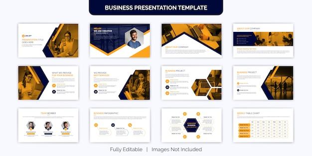 Conjunto de diseño de plantilla de diapositiva de presentación comercial creativa Vector Premium
