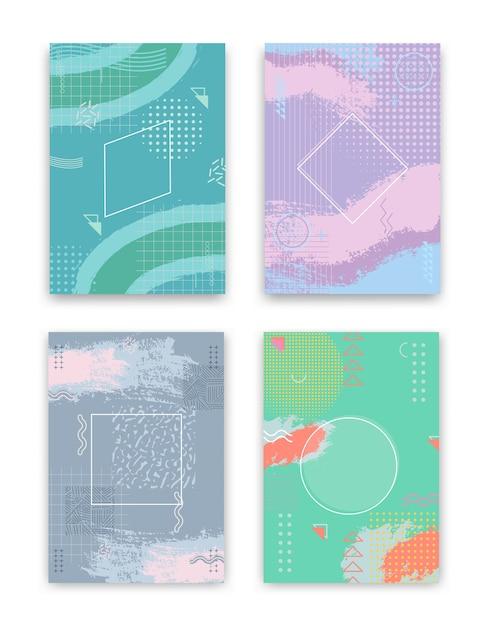 Conjunto de diseño de portada. diseño geométrico abstracto del concepto creativo, fondo colorido de memphis. vector gratuito