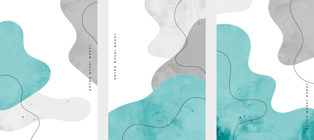 Conjunto de diseño de portadas abstractas pintadas a mano vector gratuito