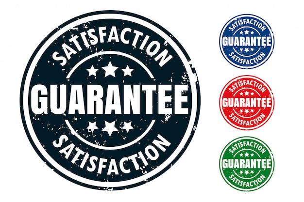 Conjunto de diseño de sello de sello de goma de garantía de satisfacción vector gratuito