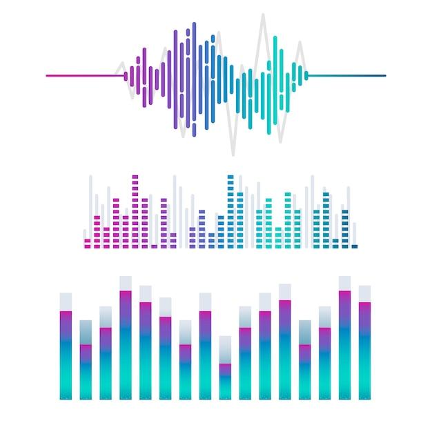 Conjunto de diseño de vector de ecualizador de onda de sonido vector gratuito