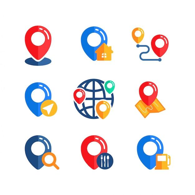 Conjunto de diseño de vector de signo de icono de ubicación de pin Vector Premium