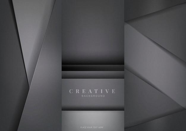Conjunto de diseños abstractos de fondo creativo en gris oscuro vector gratuito