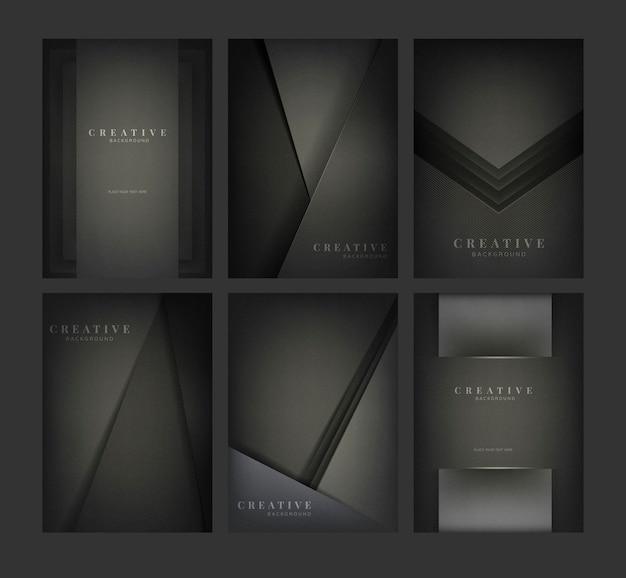 Conjunto de diseños abstractos fondo creativo en negro vector gratuito