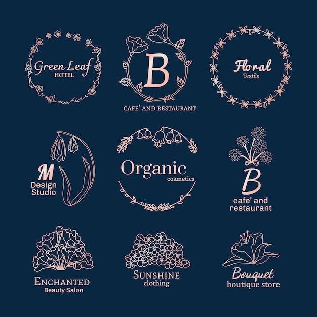Conjunto de diseños de logo floral. vector gratuito