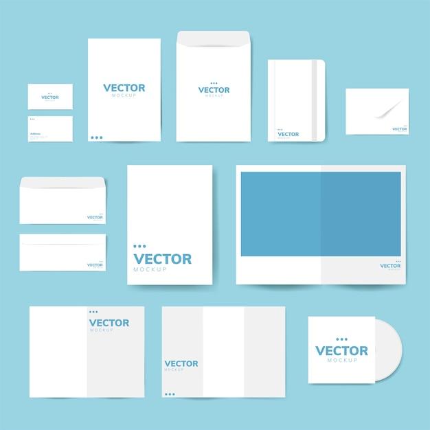 Conjunto de diseños de material de impresión maqueta vectorial vector gratuito